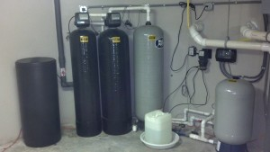 water system using a variable speed 22SQE submersible pump, a hydrogen peroxide system and a water softener